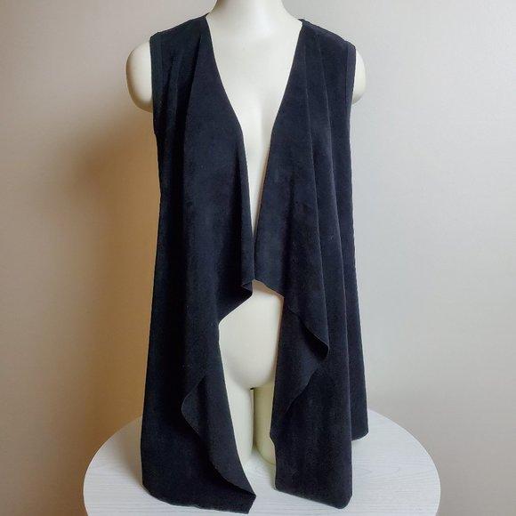 Calvin Klein Jackets & Blazers - Calvin Klein Faux Suede Black Open Vest Medium